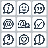 stock photo of quotation mark  - Symbols in speech bubbles vector icon set - JPG