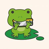 image of cute frog  - animal frog playing instrument cartoon theme elements - JPG