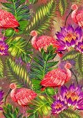 picture of scarlet ibis  - seamless tropical pattern with birds and flowers - JPG