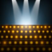 stock photo of illuminating  - Stairs with Spotlights to Illuminated Stage - JPG