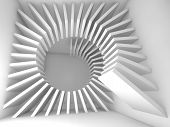 stock photo of helix  - Abstract white empty room interior with helix decoration composition - JPG