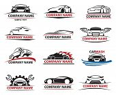 set of twelve car icons poster