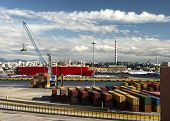 image of loading dock  - Container ship at cargo loading port - JPG