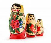 stock photo of doll  - Russian dolls matreshka on the white background - JPG
