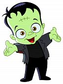 picture of frankenstein  - Cartoon of Frankenstein kid raising his hands - JPG