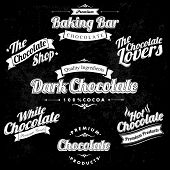 picture of bittersweet  - Premium Retro Chocolate Vintage And Label Set On Chalkboard - JPG