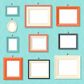 pic of wall painting  - Vintage Cartoon Photo Picture Painting Drawing Frame Template Icon Set Stylish Wall Background Retro Design Vector Illustration - JPG