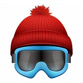 picture of knitted cap  - Knitted woolen cap with snow goggles - JPG