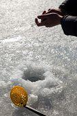 stock photo of ice fishing  - Ice fishing - JPG