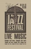 stock photo of saxophones  - Poster for the jazz festival with a saxophone and a vinyl record - JPG