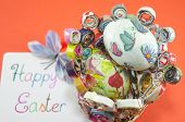 foto of decoupage  - Handmade decoupage Easter eggs on a handmade paper plate with a Happy Easter card - JPG