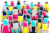 foto of gathering  - Social Gathering Digital Tablet Communication Society Concept - JPG
