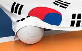 stock photo of volleyball  - Flag of South Korea with championship volleyball ball on volleyball court - JPG