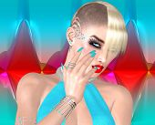 picture of mohawk  - Punk girl with Mohawk hairstyle on colorful abstract background - JPG