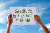 picture of gratitude  - Gratitude is the Best Attitude card with sky background - JPG