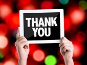 foto of give thanks  - Tablet pc with text Thank You with bokeh background - JPG