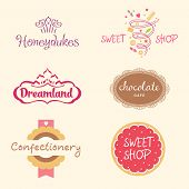 foto of candy  - Set of logo templates for confectionery - JPG