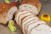 pic of meatloaf  - Leberkase meatloaf german speciality on display at a hotel restaurant buffet - JPG