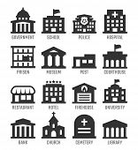 picture of firehouse  - Government buildings vector icon set over white - JPG