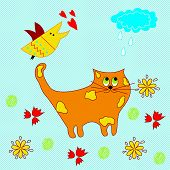 stock photo of fairy tail  - Vector illustration of a cat in a fairy tale - JPG
