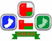picture of oman  - map button flag and symbol of Oman on a white background - JPG