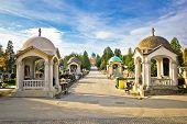 image of empty tomb  - Mirogoj cemetery walkway gardens of Zagreb capital of Croatia - JPG