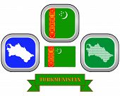 picture of turkmenistan  - map button flag and symbol of Turkmenistan on a white background - JPG