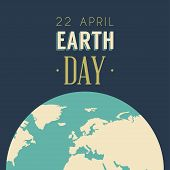stock photo of planet earth  - Vintage Earth Day Celebrating Card or Poster Design - JPG