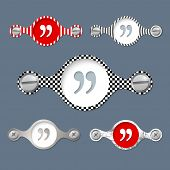 stock photo of quotation mark  - five abstract vector objects and a colored quotation mark - JPG