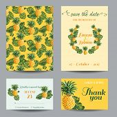Постер, плакат: InvitationCongratulation Card Set for Wedding Baby Shower Vintage Pineapples in vector