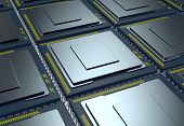 foto of cpu  - top up view of an array of CPUs  - JPG