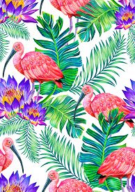 pic of scarlet ibis  - seamless tropical pattern with birds and flowers - JPG