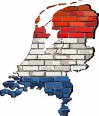 ������, ������: Netherlands Map On A Brick Wall