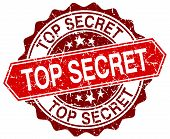 stock photo of top-secret  - top secret red round grunge stamp on white - JPG