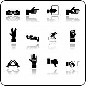 Um conjunto de ícones de elementos de mão