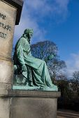picture of stone sculpture  - Stone sculptures in Orsted park Copehagen Denmark - JPG