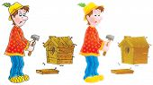 picture of farmworker  - Isolated clipart illustration of a funny village carpenter that builds a starling - JPG
