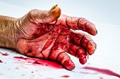 picture of horror  - bloody hand on the table - JPG