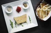 foto of french-toast  - french foie gras starter with toast and beetroot jam  - JPG