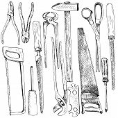 picture of sawing  - Hand drawn tool kit - JPG