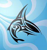 stock photo of maori  - Vector illustration with Maori style tattoo shark - JPG