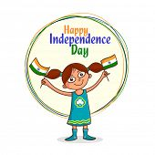 foto of indian independence day  - Cute little girl holding National Flag for Indian Independence Day celebration - JPG