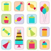 stock photo of birthday hat  - Vector seamless birthday party pattern with cake - JPG