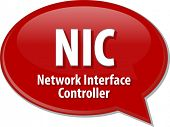 picture of nic  - Speech bubble illustration of information technology acronym abbreviation term definition NIC Network Interface Controller - JPG