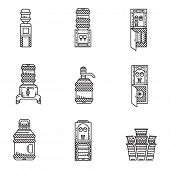 picture of boiling water  - Set of black line vector icons for water cooler equipment - JPG