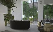 stock photo of reception-area  - Modern minimalist living room interior with huge double volume floor - JPG