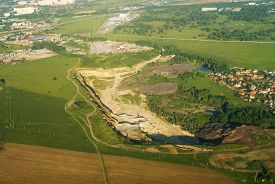 pic of open-pit mine  - Aerial view onto mineral open pit mine - JPG
