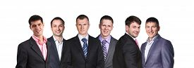 foto of lineup  - Businesman with smile lineup on isolated background - JPG