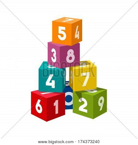 poster of Bright colored bricks building tower. Block vector illustration on white background. Numeral cubes with numbers.