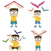 cartoon boy with book illustration
